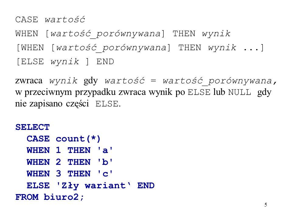 CASE wartość WHEN [wartość_porównywana] THEN wynik. [WHEN [wartość_porównywana] THEN wynik ...] [ELSE wynik ] END.
